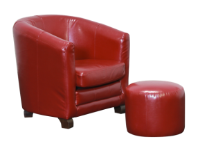 Bronson Sofa Chair With Ottoman Wine Red