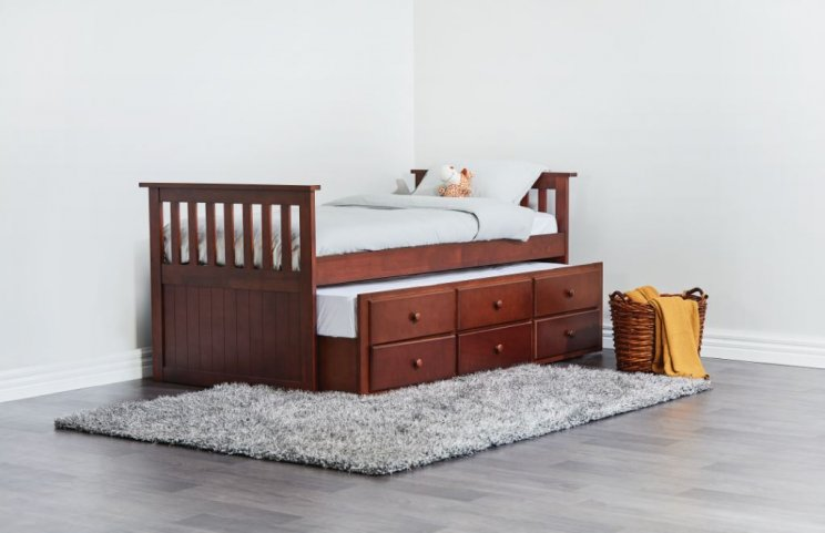 CAPTAIN TRUNDLE BED AND 2 PERTH SINGLE MATTRESSES