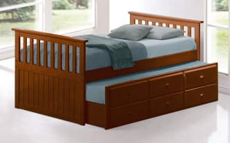 Captain Single Trundle Bed Walnut