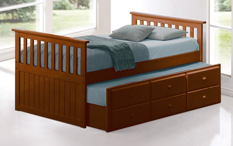 Trundle Bed.Captain Trundle Bed Frame With Drawers Walnut