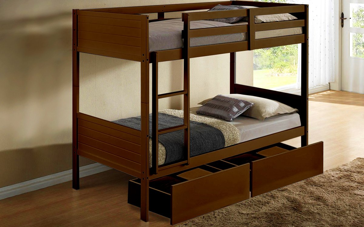 Picture of: Twin Bunk Bed Frame Walnut Pk Furniture