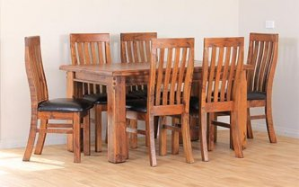 FARMHOUSE DINING TABLE 180X105 +6 X PU SEAT CHAIRS