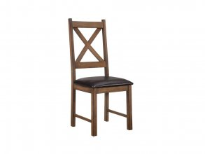 GALGARY DINING CHAIR WITH PU LEATHER SEAT, DARK BROWN