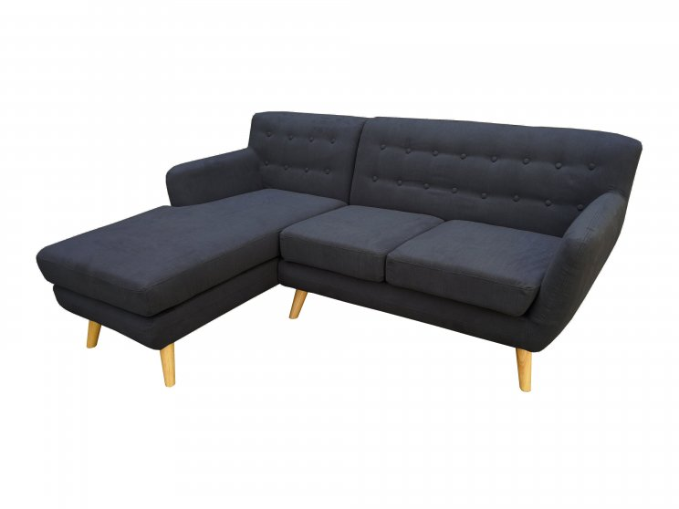 Mika 2 Seater With Chaise Dark Grey