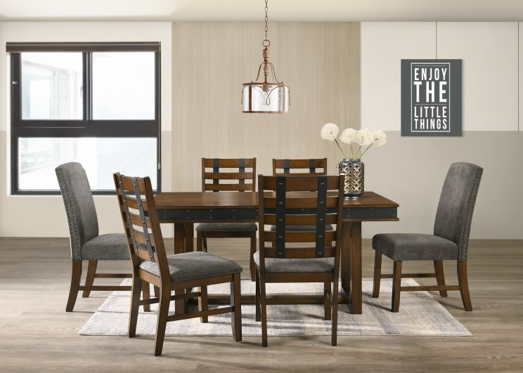 POSTY 180 7 PIECE DINING SUITE WITH FABRIC BACK CHAIRS