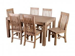 SILVERSTRIKE 7 PIECE DINING SUITE WITH CAMILLA CHAIR WOODEN SEAT