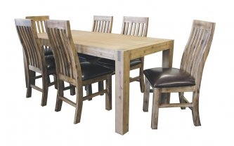 SILVERSTRIKE 7 PIECE DINING SUITE WITH CAMILLA CHAIR PU SEAT