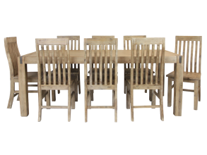 SILVERSTRIKE 9 PIECE 210 DINING SUITE WITH WODDEN SEAT CHAIRS