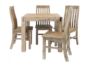 SILVERSTRIKE 5 PIECE 90 DINING SUITE WITH WOODEN SEAT CHAIRS
