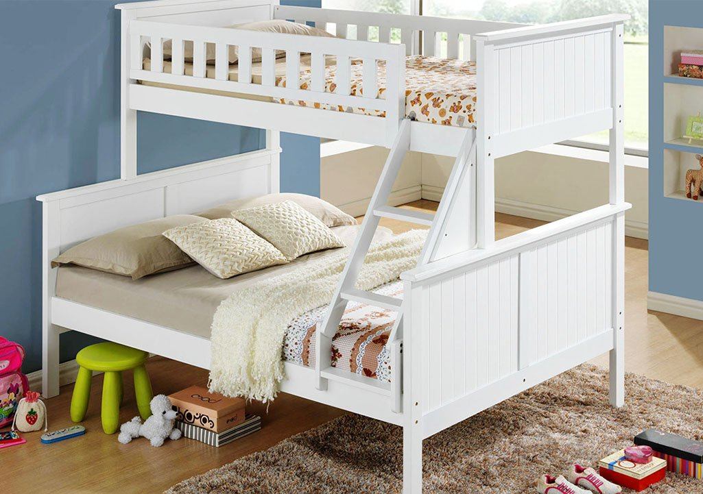 Twin Single Over Double Full Bunk Bed Frame White Pk
